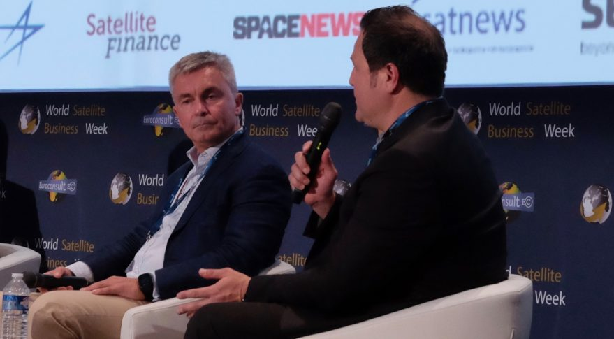 LeoSat chief executive Mark Rigolle, left, and Samer Halawi, OneWeb's COO, participate in a panel discussion at World Satellite Business Week in Paris. Credit: SpaceNews/Brian Berger