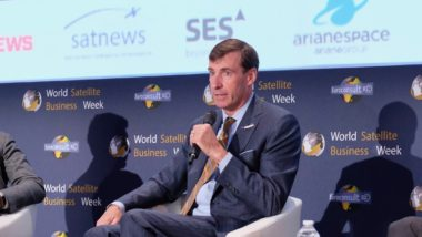 """""""We are step by step trying to incorporate lessons learned as we go,"""" Blue Origin's Clay Mowry said Sept. 12 during a panel discussion at World Satellite Business Week. Credit: SpaceNews/Brian Berger"""