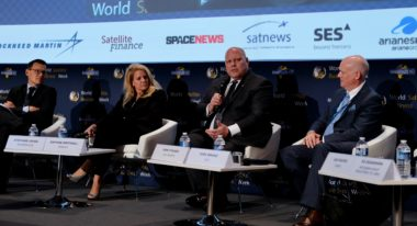 Arianespace CEO Stephane Israel, SpaceX President Gwynne Shotwell, ILS CEO Kirk Pysher and ULA CEO Tori Bruno at World Satellite Business Week 2017 in Paris. Credit: SpaceNews/Brian Berger