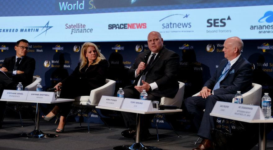 Arianespace CEO Stephane Israel, SpaceX President Gwynne Shotwell, ILS CEO Kirk Pysher and ULA CEO Tory Bruno at World Satellite Business Week 2017 in Paris. Credit: SpaceNews/Brian Berger