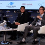 Mitsubishi Heavy Industries' Ko Ogasawara, right,  speaks during a panel Sept. 12 at Euroconsult's World Satellite Business Week as ULA CEO Tori Bruno (left) and Gao Ruofei, CGWIC's executive vice president, look on. Credit: SpaceNews/Brian Berger