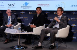 Mitsubishi Heavy Industries' Ko Ogasawara, right,  speaks during a panel Sept. 12 at Euroconsult's World Satellite Business Week as ULA CEO Tory Bruno (left) and Gao Ruofei, CGWIC's executive vice president, look on. Credit: SpaceNews/Brian Berger