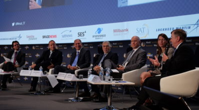 Executives from the world's leading satellite manufacturers discussed the challenges and opportunities they are facing at World Satellite Business Week in Paris. Credit: SpaceNews/Brian Berger