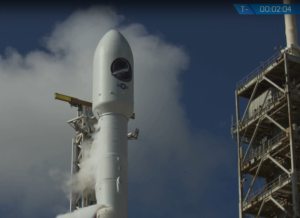 A Falcon 9 carrying X-37B beneath its protective shroud minutes before its Sept. 7 liftoff from Kennedy Space Center, Florida. Credit: SpaceX video