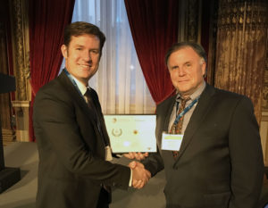 LeoLabs founder and chief executive Dan Ceperley (right) and Alan DeClerck, the firm's vice president of business development and strategy, were honored Sept. 11 in Paris as one of five winners of The FinSpace Awards, organized by Euroconsult and Communications-Smart.  Credit: Courtesy of LeoLabs