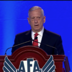 U.S. Defense Secretary Jim Mattis delivers a keynote Sept. 20 at the Air Force Association's Air Space Cyber conference in National Harbor, Maryland. Credit: DoD video