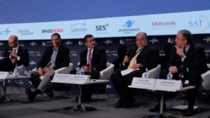 Pictured from left to right: Nathan de Ruiter, managing director, Euroconsult Canad;a Mark Dankberg, chairman and CEO, Viasat Inc.; Pierre-Jean Beylier, CEO, Speedcast; Pradman P. Kaul, president and CEO, Hughes Network Systems; and Kevin Steen, CEO, iDirect Technologies. Credit: SpaceNews/Brian Berger