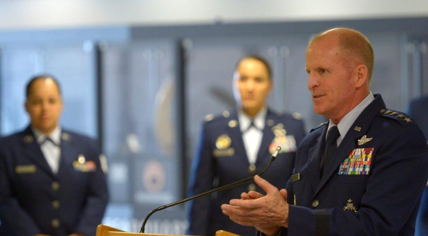Air Force Vice Chief of Staff Gen. Stephen W. Wilson speaks during an awards ceremony in the Pentagon.