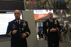James Mingus, director of the Army's Mission Command Center of Excellence (left) and John Morrison, Jr., commanding general for the Army's Cyber Center of Excellence, at the AUSA conference on Washington. Credit: SpaceNews/Caleb Henry