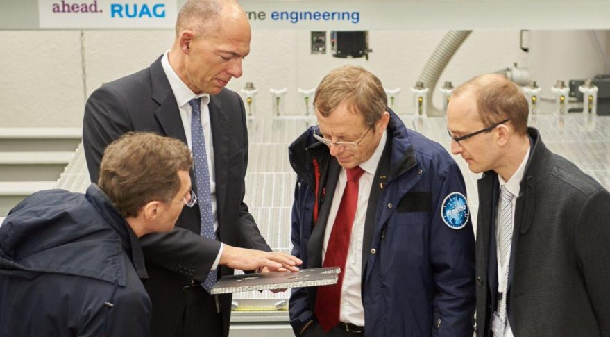 ESA Director General Johann-Dietrich Woerner, second from left visits Ruag  in March. Credit: Ruag via Twitter