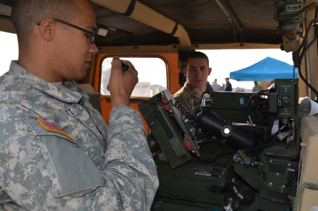 Soldiers at Ft. Bragg, N.C. test tactical radios. (Army photo)