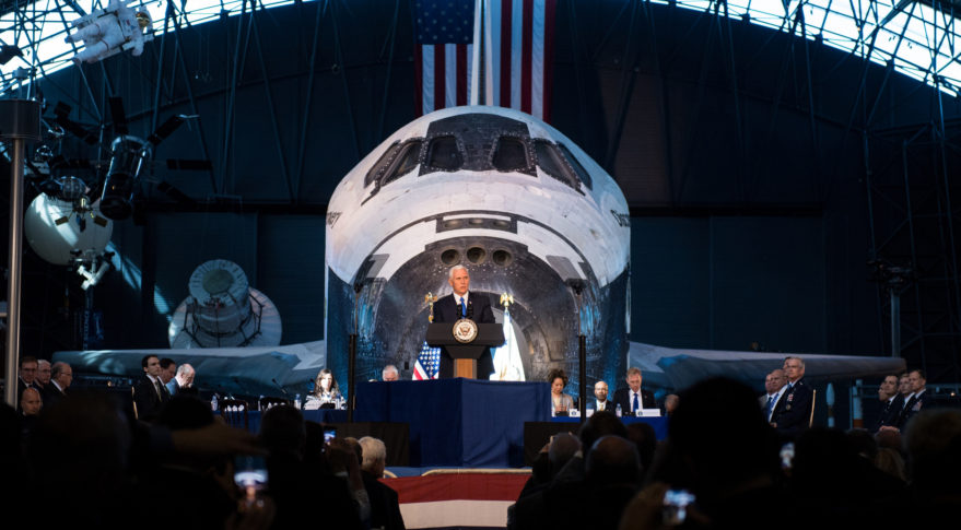 Vice President Mike Pence delivers opening remarks during the National Space Council's first meeting, Thursday, Oct. 5, 2017 at the Smithsonian National Air and Space Museum's Steven F. Udvar-Hazy Center in Chantilly, Va. The National Space Council, chaired by Vice President Mike Pence heard testimony from representatives from civil space, commercial space, and national security space industry representatives. Credit: NASA/Joel Kowsky