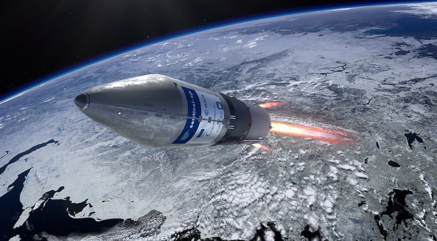 An ESA artist's concept of a Rockot launcher carrying the Sentinel-5P Earth-observation satellite to orbit. Credit: ESA