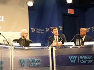 Michael Neufeld, of The Smithsonian National Air & Space Museum, Clay Mowry, vice president of Blue Origin and Robert Curbeam, vice president of Raytheon Space and Airborne Systems speak Oct. 4 at the Wilson Center.