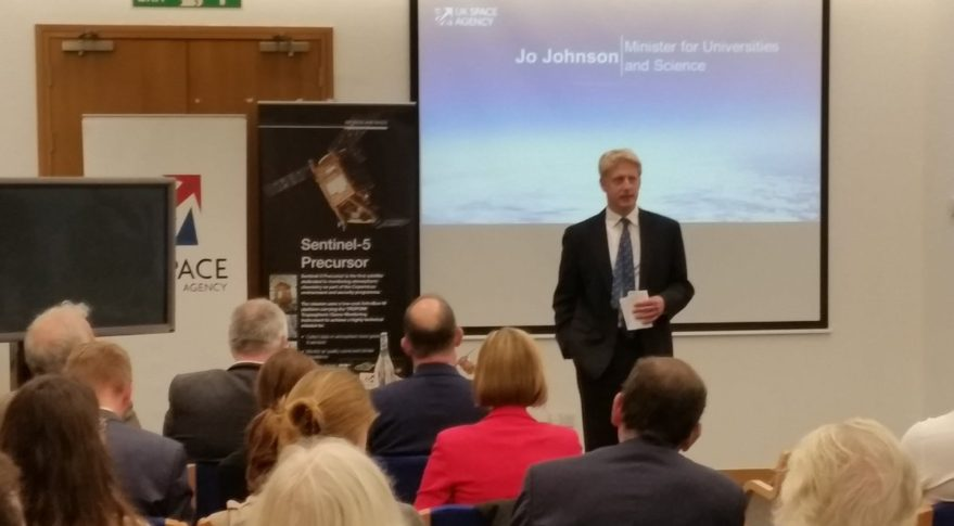 Speaking at the Sentinel 5P launch event in was Jo Johnson, the UK's minister of state for universities, science, research and innovation. Johnson tried to reassure those in attendance that Sentinel 5P is not the UK's final contribution to large EU-funded space projects such as Copernicus, Galileo and the Space Surveillance and Tracking program (SST). Credit: Twitter/@JoJohnsonUK