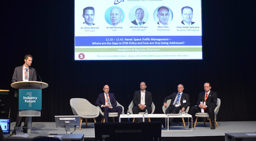 Marc Vales, head of future programs at ArianeGroup. participates in a panel discussion at Space Tech Expo Europe in Bremen, Germany. Credit: Space Tech Expo Europe