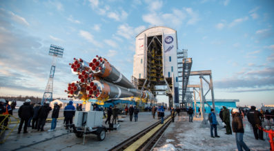 A Soyuz 2.1a rocket in the lead up to its April 2016 launch from Vostochny — the first and only launch to date from Russia's newly constructed cosmodrome.  Credit: Roscosmos