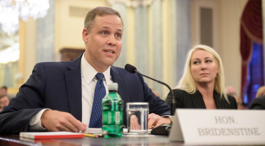 Rep. Jim Bridenstine faced criticism on a wide range of issues from Democratic members of the Senate Commerce Committee during a Nov. 1 hearing on his nomination to become NASA administrator. Credit: NASA/Joel Kowsky