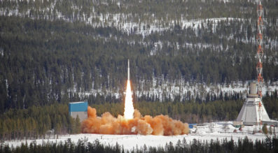 A sounding rocket lifts off from Sweden's Esrange Space Center. (Swedish Space Corp.)