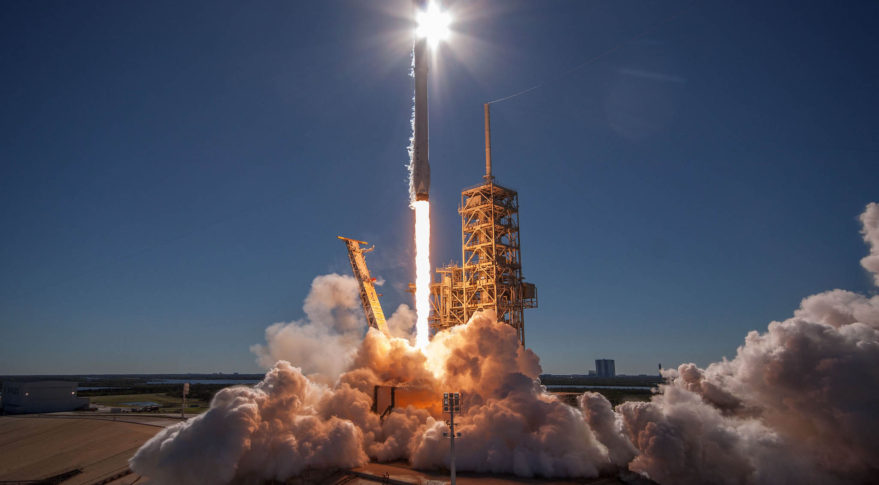 SpaceX conducts its 16th launch of 2017, delivering  Koreasat-5A to orbit Oct. 30.  Its planned 17th launch of the year, a classified payload dubbed Zuma, has been delayed past Thanksgiving by a fairing issue. (SpaceX)