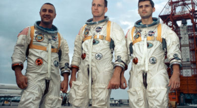 Astronauts, from the left, Gus Grissom, Ed White II and Roger Chaffee stand near Cape Kennedy's Launch Complex 34 during training for Apollo 1 in January 1967. On Jan. 27, 1967, the three astronauts were preparing for what was to be the first manned Apollo flight. The astronauts were sitting atop the launch pad for a pre-launch test when a fire broke out in their Apollo capsule. Credit: NASA