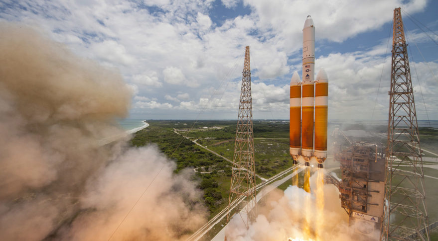 A United Launch Alliance Delta IV-Heavy rocket lifts off from Space Launch Complex 37B at Cape Canaveral Air Force Station, Fla. (ULA photo)