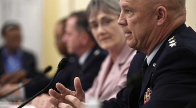 Gen. John Raymond, Commander, Air Force Space Command testifies with Secretary of the Air Force Heather Wilson and Air Force Chief of Staff Gen. David Goldfein before the Senate Armed Services Subcommittee on Strategic Forces (U.S. Air Force photo)
