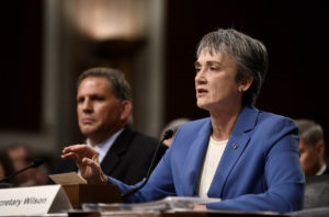 Secretary of the Air Force Heather Wilson speaks to the Senate Armed Services Committee Dec. 7, 2017 (Air Force photo)