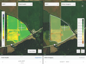 Left, a Climate FieldView vegetative map at 5m resolution from a satellite image; Right, the same map from aerial image provided by TerrAvion, at 0.5m resolution.