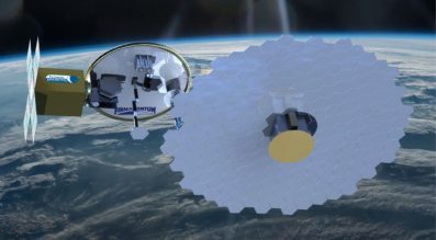 For the U.S. Defense Advanced Research Projects Agency, Firmamentum is developing OrbWeaver, a small satellite to ride into orbit on an Evolved Expendable Launch Vehicle Secondary Payload Adapter ring, chew up the ring and turn the pieces into a satellite antenna. Credit: Tethers Unlimited