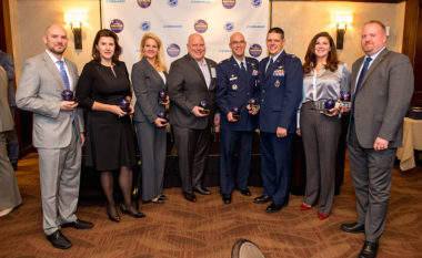 The winners of the 2017 SpaceNews Awards for Excellence & Innovation. From left, Planet's Richard Leshner; H.E. Sylvie Lucas, ambassador of Luxembourg; SpaceX President and COO Gwynne Shotwell; ILS President Kirk Pysher; Col. Steven Lang, 45th Space Wing; Lt. Col. Jack Lovin, USSTRATCOM; Marcy Steinke, Maxar Technologies; Jason Crusan, NASA. Credit: Kate Patterson for SpaceNews