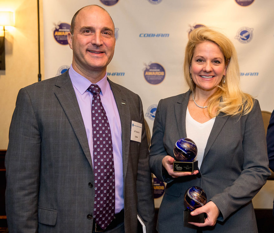 SpaceX President and COO Gwynne Shotwell, right, and Jeff Hassannia, Cobham Advanced Electronic Solutions' senior vice president for business development and technology, at the SpaceNews Awards for Excellence & Innovation. Credit: Kate Patterson for SpaceNews.