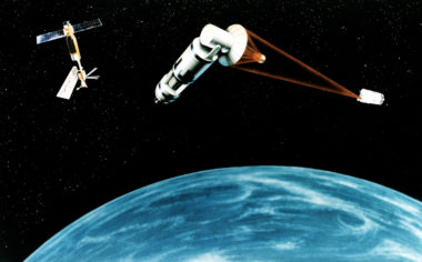 An artist's concept of a Space Laser Satellite Defense System.