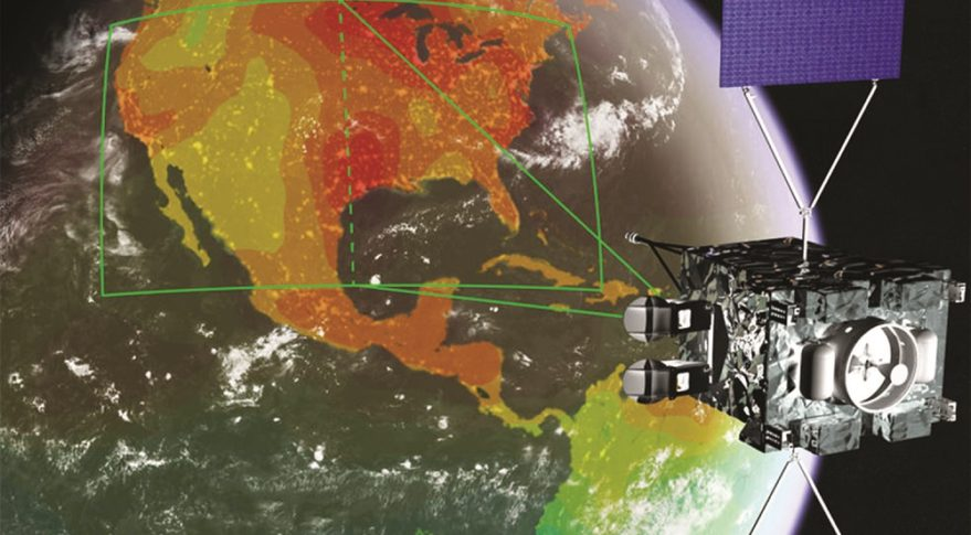 Artist's illustration of a concept for NASA's GeoCarb mission, which will map concentrations of key carbon gases above the Americas from geostationary orbit. (Credit: Lockheed Martin, University of Oklahoma)
