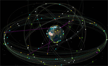 The space around Earth is contested and congested. (Air Force graphic)