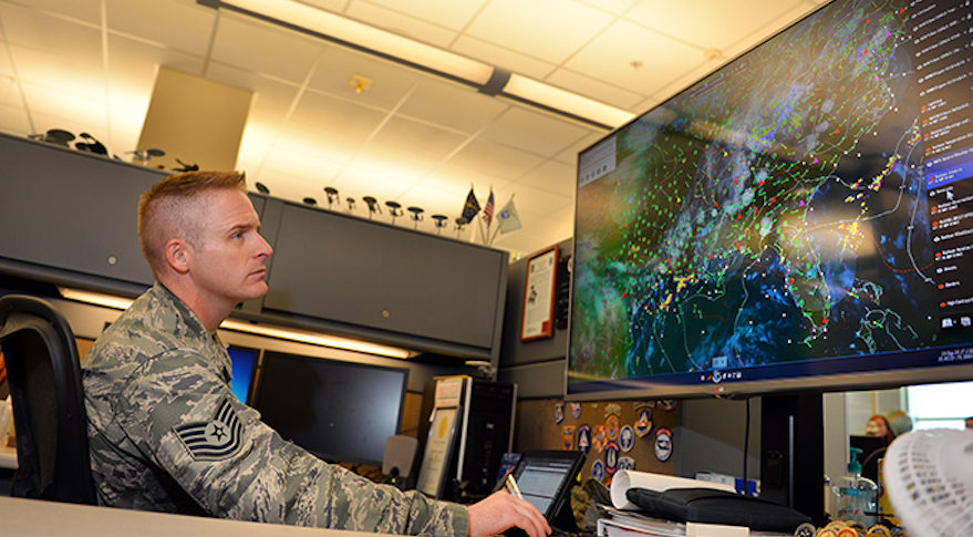 The U.S. Air Force is eager to obtain more data on space weather which its 557th Weather Wing based at Offutt Air Force Base in Nebraska uses to produce forecasts and analyze space weather events. Credit: Air Force