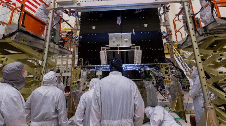 Lockheed Martin engineers and technicians are assembling NOAA's Geostationary Operational Environmental Satellite (GOES) T at the company's Littleton, Colorado facility in preparation for launch in late 2020. Credit: Lockheed Martin