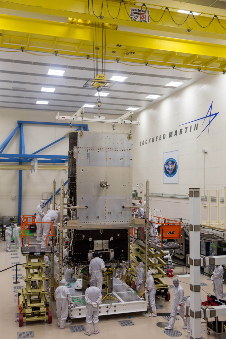 Technicians at Lockheed Martin work on GOES-T satellite. Credit: Lockheed Martin