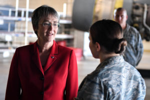 Secretary of the Air Force Heather Wilson visits airmen at Barksdale Air Force Base, La. (Air Force photo)