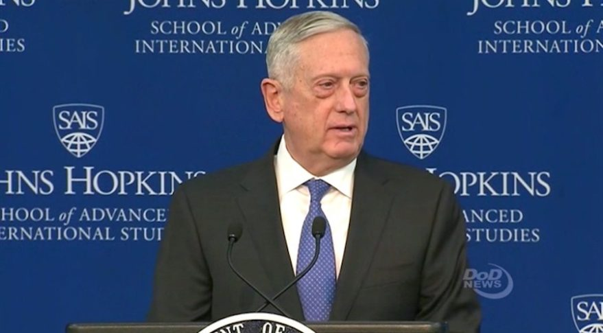 Defense Secretary Jim Mattis announces the 2018 National Defense Strategy. Credit: DoD