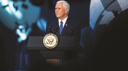 Vice President Mike Pence delivers opening remarks Oct. 5 during the National Space Council's first meeting. (Credit: NASA)