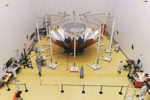 The European Space Agency's Gaia astrometry observatory undergoes pre-launch preparation at Europe's South American spaceport in 2013. (Credit: ESA)