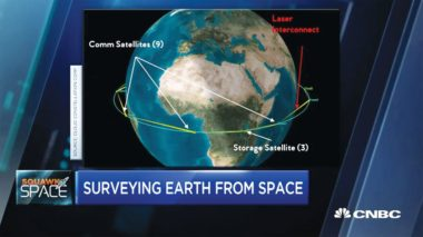 An artist's rendering of intersatellite links between the different proposed SpaceBelt satellites.