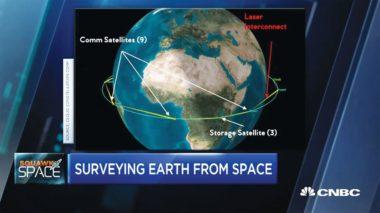 An artist's rendering of intersatellite links between the different proposed SpaceBelt satellites.