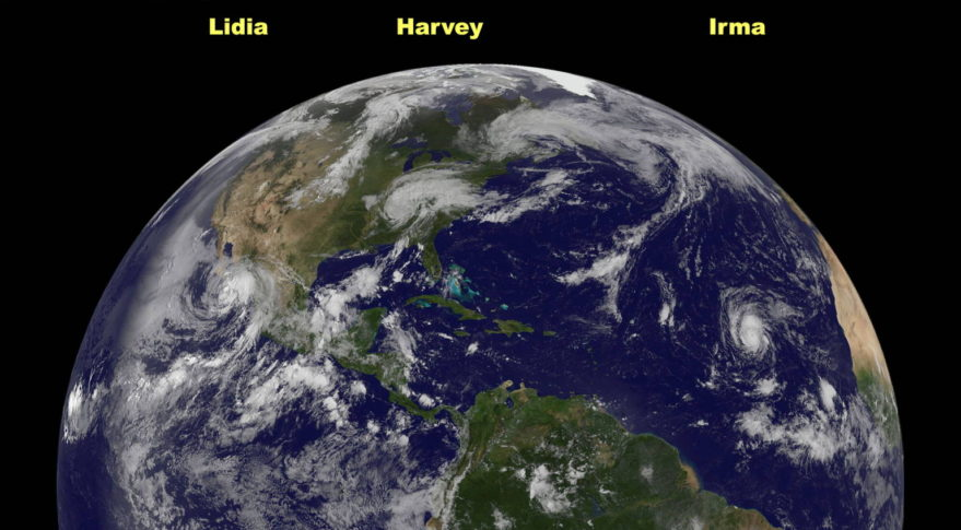 Before NOAA retired the spacecraft on Jan. 8, GOES-13 captured images of many major storms, including this image from Sept. 1, 2017, showing Tropical Storm Lidia and Hurricanes Harvey and Irma. Credit: NASA