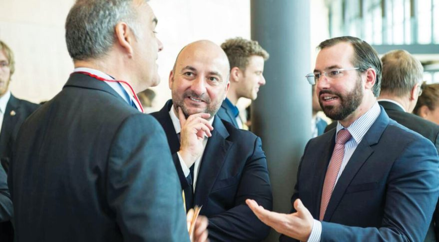 Luxembourg's Crown Prince Guillaume (right) and Deputy Prime Minister Étienne Schneider (center) at the NewSpace Europe 2017 conference in Luxembourg City. (Credit: Dominique GAUL/Spaceresources.lu)