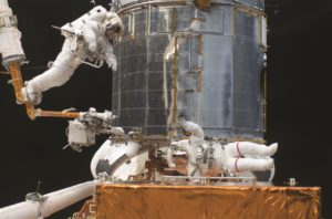 Between 1993 and 2009, astronauts repaired and upgraded Hubble five times. (Credit: NASA)