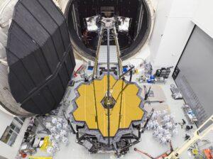 NASA's James Webb Space Telescope emerged from Chamber A at NASA's Johnson Space Center in December.  (Credit: NASA/Chris Gunn)