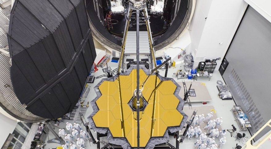 NASA's James Webb Space Telescope emerged from Chamber A at NASA's Johnson Space Center in December.  (Credit: NASA/Chris Gunn)