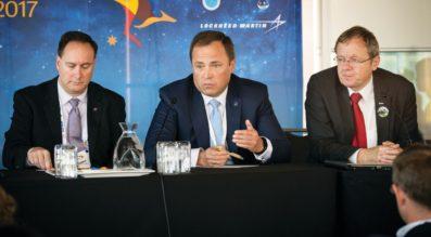 NASA Acting Administrator Robert Lightfoot, left, and Roscosmos Director Igor Komarov at the World Space Congress in Australia on Sept. 25. (Credit: IAF via Flickr)